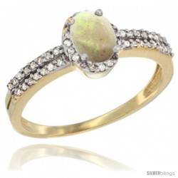 14k Yellow Gold Ladies Natural Opal Ring oval 6x4 Stone Diamond Accent -Style Cy420178