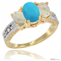 14k Yellow Gold Ladies Oval Natural Turquoise 3-Stone Ring with Opal Sides Diamond Accent