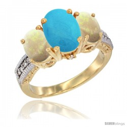 14K Yellow Gold Ladies 3-Stone Oval Natural Turquoise Ring with Opal Sides Diamond Accent