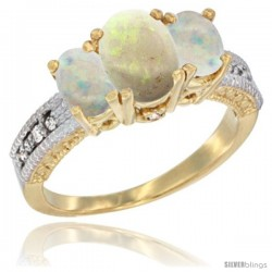 14k Yellow Gold Ladies Oval Natural Opal 3-Stone Ring Diamond Accent
