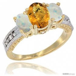 14k Yellow Gold Ladies Oval Natural Whisky Quartz 3-Stone Ring with Opal Sides Diamond Accent