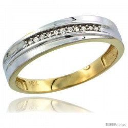 10k Yellow Gold Mens Diamond Wedding Band Ring 0.04 cttw Brilliant Cut, 3/16 in wide -Style 10y004mb