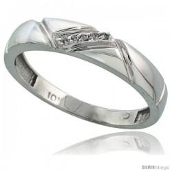 Sterling Silver Men's Diamond Band, w/ 0.03 Carat Brilliant Cut Diamonds, 3/16 in. (4.5mm) wide