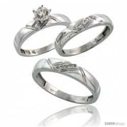 Sterling Silver 3-Piece Trio His (4.5mm) & Hers (4mm) Diamond Wedding Band Set, w/ 0.10 Carat Brilliant Cut Diamonds