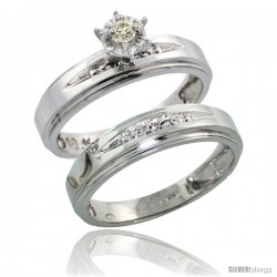 Sterling Silver 2-Piece Diamond Engagement Ring Set, w/ 0.08 Carat Brilliant Cut Diamonds, 3/16 in. (5mm) wide -Style Ag113e2