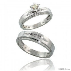 Sterling Silver 2-Piece Diamond Ring Set ( Engagement Ring & Man's Wedding Band ), w/ 0.09 Carat Brilliant Cut Diamonds, ( 5mm