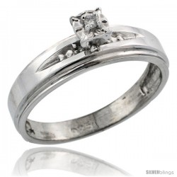 Sterling Silver Diamond Engagement Ring, w/ 0.06 Carat Brilliant Cut Diamonds, 3/16 in. (5mm) wide -Style Ag113er