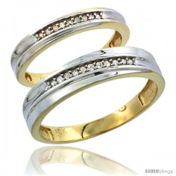 10k Yellow Gold Diamond Wedding Rings 2-Piece set for him 5 mm & Her 3 mm 0.06 cttw Brilliant Cut