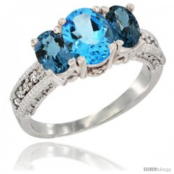 10K White Gold Ladies Oval Natural Swiss Blue Topaz 3-Stone Ring with London Blue Topaz Sides Diamond Accent