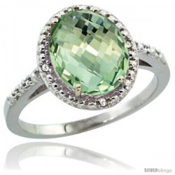 Sterling Silver Diamond Natural Green Amethyst Ring Ring 2.4 ct Oval Stone 10x8 mm, 1/2 in wide -Style Cwg02111