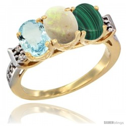 10K Yellow Gold Natural Aquamarine, Opal & Malachite Ring 3-Stone Oval 7x5 mm Diamond Accent
