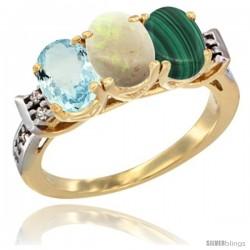 10K Yellow Gold Natural Aquamarine, Opal & Malachite Ring 3-Stone Oval 7x5 mm Diamond Accent