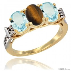 10K Yellow Gold Natural Tiger Eye & Aquamarine Sides Ring 3-Stone Oval 7x5 mm Diamond Accent