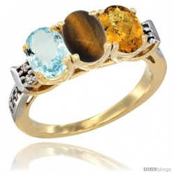 10K Yellow Gold Natural Aquamarine, Tiger Eye & Whisky Quartz Ring 3-Stone Oval 7x5 mm Diamond Accent