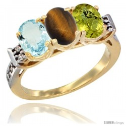 10K Yellow Gold Natural Aquamarine, Tiger Eye & Lemon Quartz Ring 3-Stone Oval 7x5 mm Diamond Accent