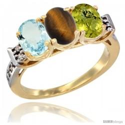 10K Yellow Gold Natural Aquamarine, Tiger Eye & Lemon Quartz Ring 3-Stone Oval 7x5 mm Diamond Accent