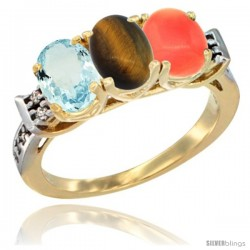 10K Yellow Gold Natural Aquamarine, Tiger Eye & Coral Ring 3-Stone Oval 7x5 mm Diamond Accent