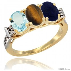 10K Yellow Gold Natural Aquamarine, Tiger Eye & Lapis Ring 3-Stone Oval 7x5 mm Diamond Accent
