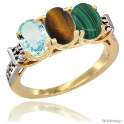 10K Yellow Gold Natural Aquamarine, Tiger Eye & Malachite Ring 3-Stone Oval 7x5 mm Diamond Accent