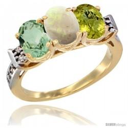 10K Yellow Gold Natural Green Amethyst, Opal & Lemon Quartz Ring 3-Stone Oval 7x5 mm Diamond Accent