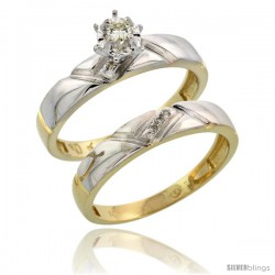 10k Yellow Gold Ladies' 2-Piece Diamond Engagement Wedding Ring Set, 5/32 in wide -Style Ljy112e2