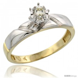 10k Yellow Gold Diamond Engagement Ring, 5/32 in wide -Style Ljy112er