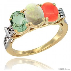 10K Yellow Gold Natural Green Amethyst, Opal & Coral Ring 3-Stone Oval 7x5 mm Diamond Accent