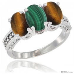 14K White Gold Natural Malachite & Tiger Eye Sides Ring 3-Stone 7x5 mm Oval Diamond Accent