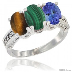 14K White Gold Natural Tiger Eye, Malachite & Tanzanite Ring 3-Stone 7x5 mm Oval Diamond Accent