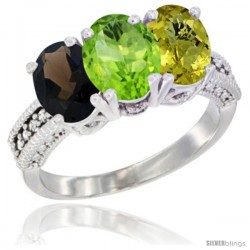 14K White Gold Natural Smoky Topaz, Peridot & Lemon Quartz Ring 3-Stone 7x5 mm Oval Diamond Accent