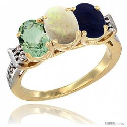 10K Yellow Gold Natural Green Amethyst, Opal & Lapis Ring 3-Stone Oval 7x5 mm Diamond Accent