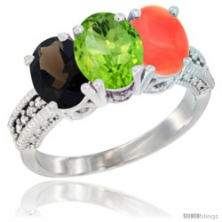 14K White Gold Natural Smoky Topaz, Peridot & Coral Ring 3-Stone 7x5 mm Oval Diamond Accent