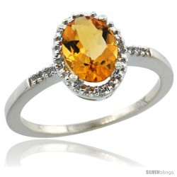 10k White Gold Diamond Citrine Ring 1.17 ct Oval Stone 8x6 mm, 3/8 in wide