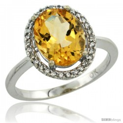 10k White Gold Diamond Citrine Ring 2.4 ct Oval Stone 10x8 mm, 1/2 in wide -Style Cw909114