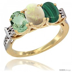 10K Yellow Gold Natural Green Amethyst, Opal & Malachite Ring 3-Stone Oval 7x5 mm Diamond Accent