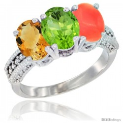10K White Gold Natural Citrine, Peridot & Coral Ring 3-Stone Oval 7x5 mm Diamond Accent