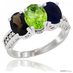 14K White Gold Natural Smoky Topaz, Peridot & Lapis Ring 3-Stone 7x5 mm Oval Diamond Accent