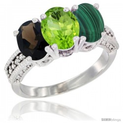 14K White Gold Natural Smoky Topaz, Peridot & Malachite Ring 3-Stone 7x5 mm Oval Diamond Accent