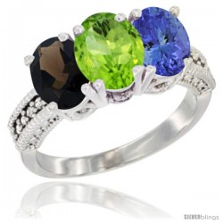 14K White Gold Natural Smoky Topaz, Peridot & Tanzanite Ring 3-Stone 7x5 mm Oval Diamond Accent