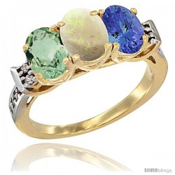 10K Yellow Gold Natural Green Amethyst, Opal & Tanzanite Ring 3-Stone Oval 7x5 mm Diamond Accent