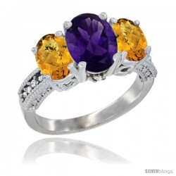 14K White Gold Ladies 3-Stone Oval Natural Amethyst Ring with Whisky Quartz Sides Diamond Accent