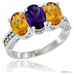 14K White Gold Natural Amethyst Ring with Whisky Quartz 3-Stone 7x5 mm Oval Diamond Accent