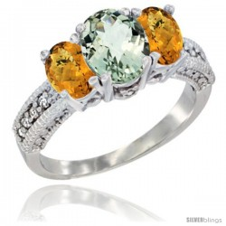 14k White Gold Ladies Oval Natural Green Amethyst 3-Stone Ring with Whisky Quartz Sides Diamond Accent