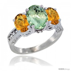 14K White Gold Ladies 3-Stone Oval Natural Green Amethyst Ring with Whisky Quartz Sides Diamond Accent