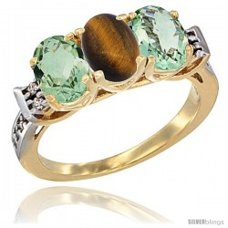 10K Yellow Gold Natural Tiger Eye & Green Amethyst Sides Ring 3-Stone Oval 7x5 mm Diamond Accent