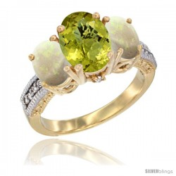 14K Yellow Gold Ladies 3-Stone Oval Natural Lemon Quartz Ring with Opal Sides Diamond Accent