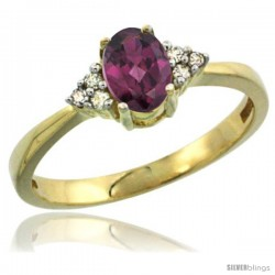 14kYellow Gold Ladies Natural Rhodolite Ring oval 6x4 Stone Diamond Accent