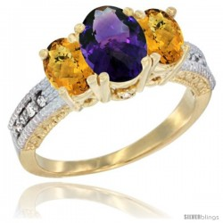 14k Yellow Gold Ladies Oval Natural Amethyst 3-Stone Ring with Whisky Quartz Sides Diamond Accent