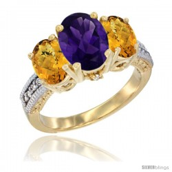 14K Yellow Gold Ladies 3-Stone Oval Natural Amethyst Ring with Whisky Quartz Sides Diamond Accent