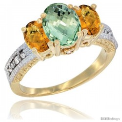 14k Yellow Gold Ladies Oval Natural Green Amethyst 3-Stone Ring with Whisky Quartz Sides Diamond Accent